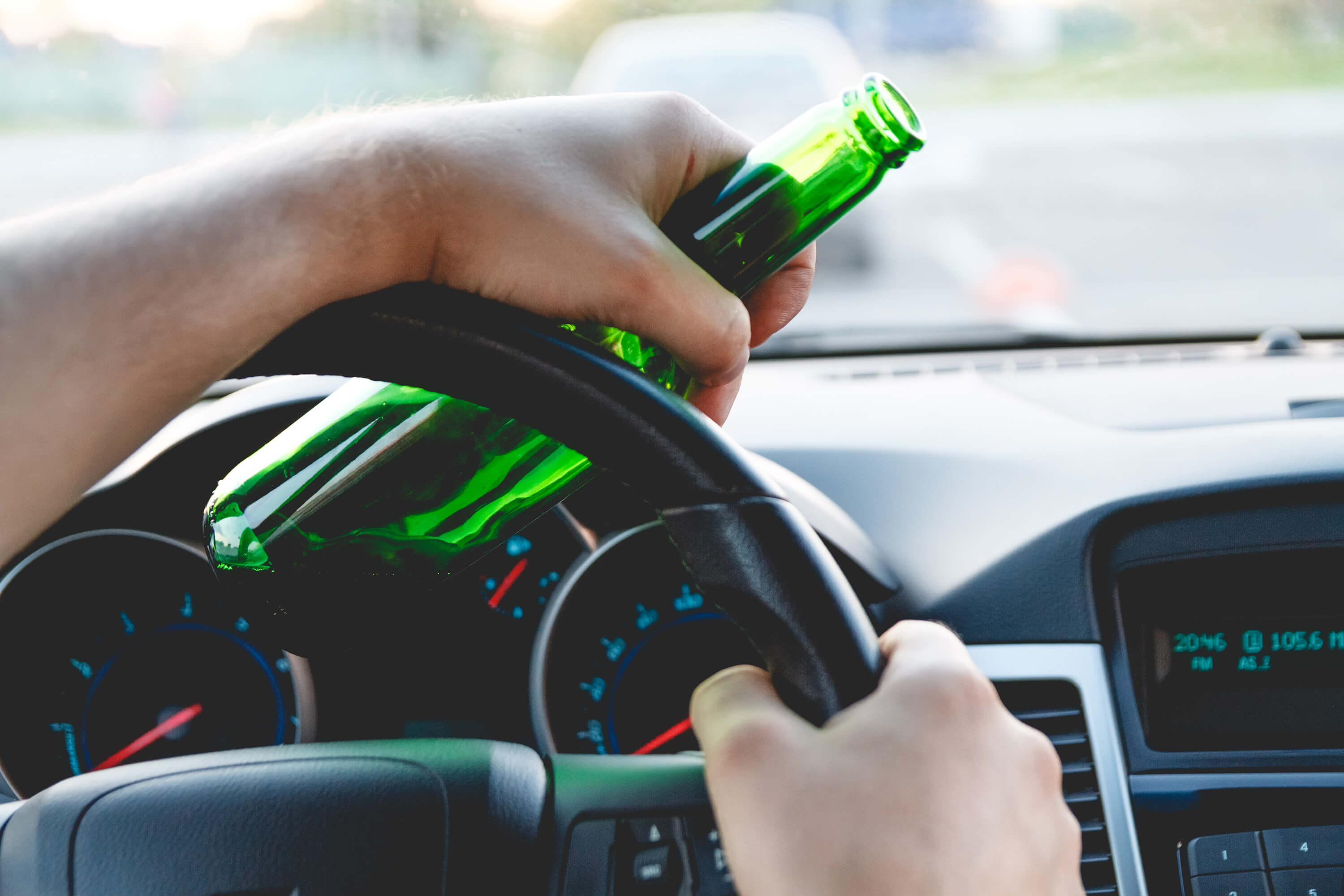 Driving with a beer bottle - DUI and leaving the scene of an accident